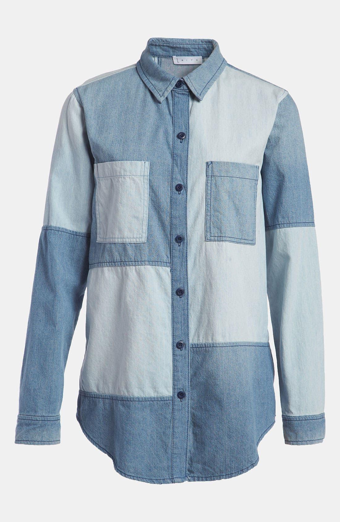 Main Image - Leith Colorblock Chambray Shirt