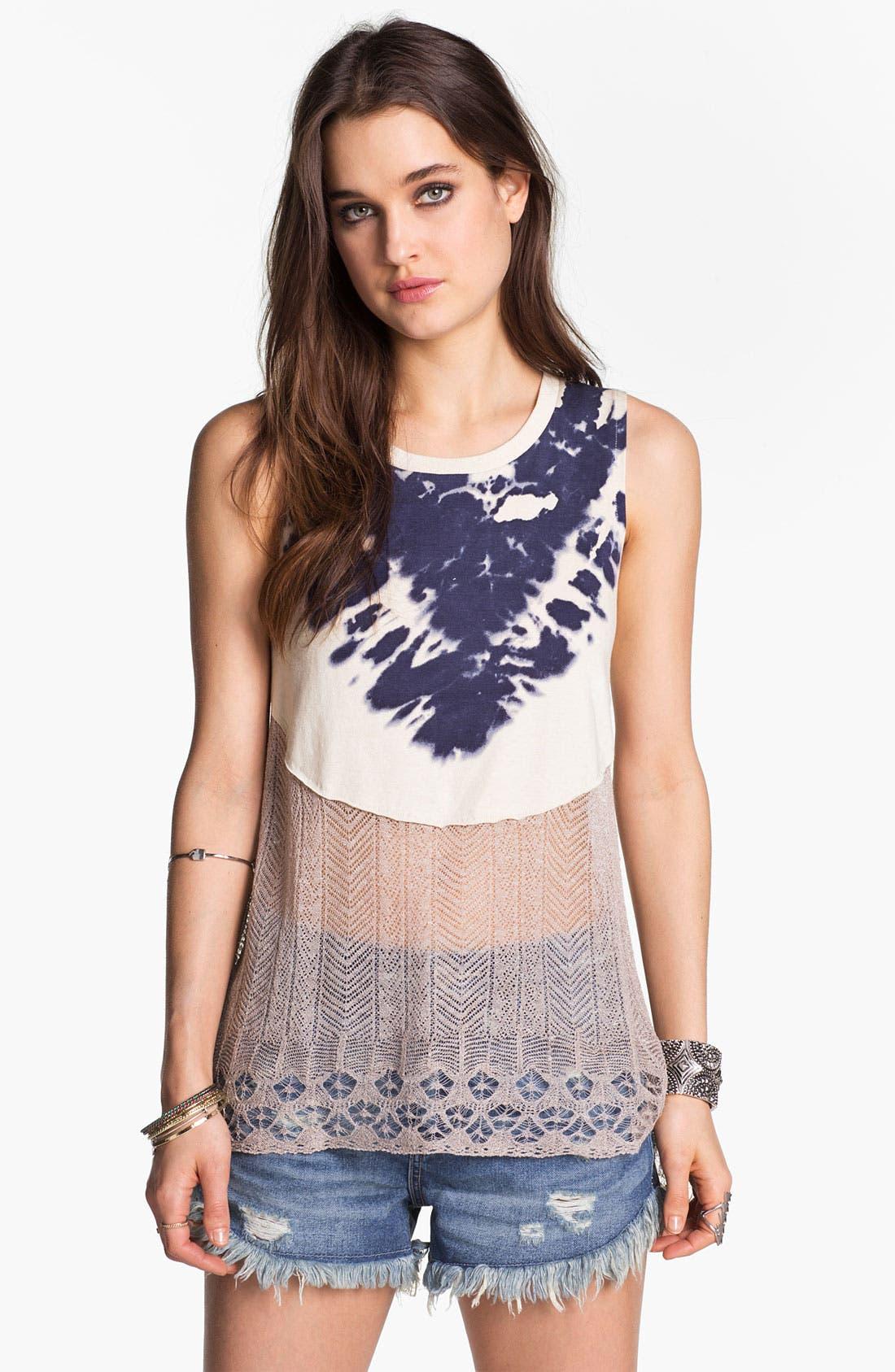 Main Image - Free People 'Bonnaroo' Tie Dye & Crochet Tank