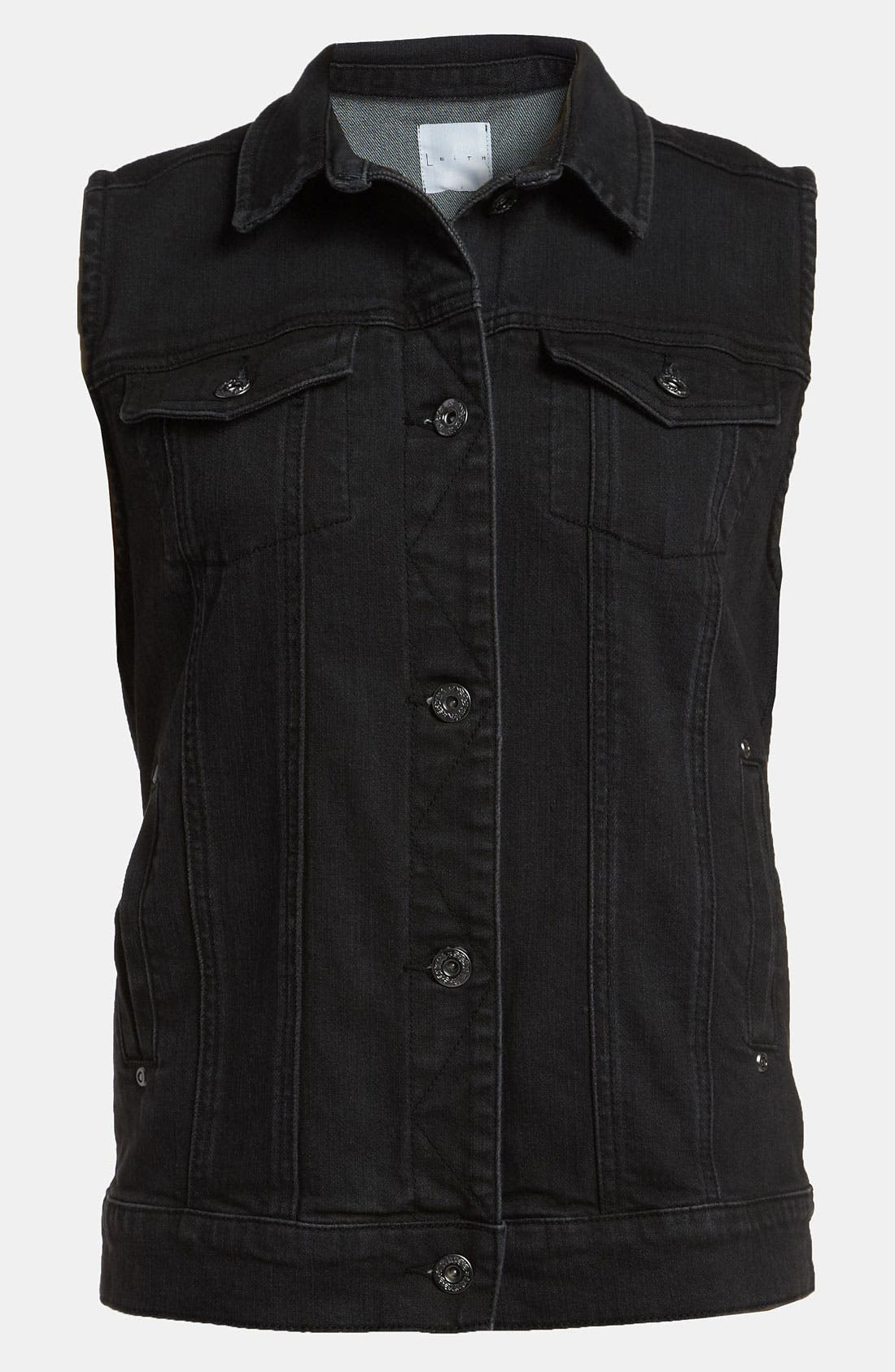 Main Image - Leith Sleeveless Denim Jacket