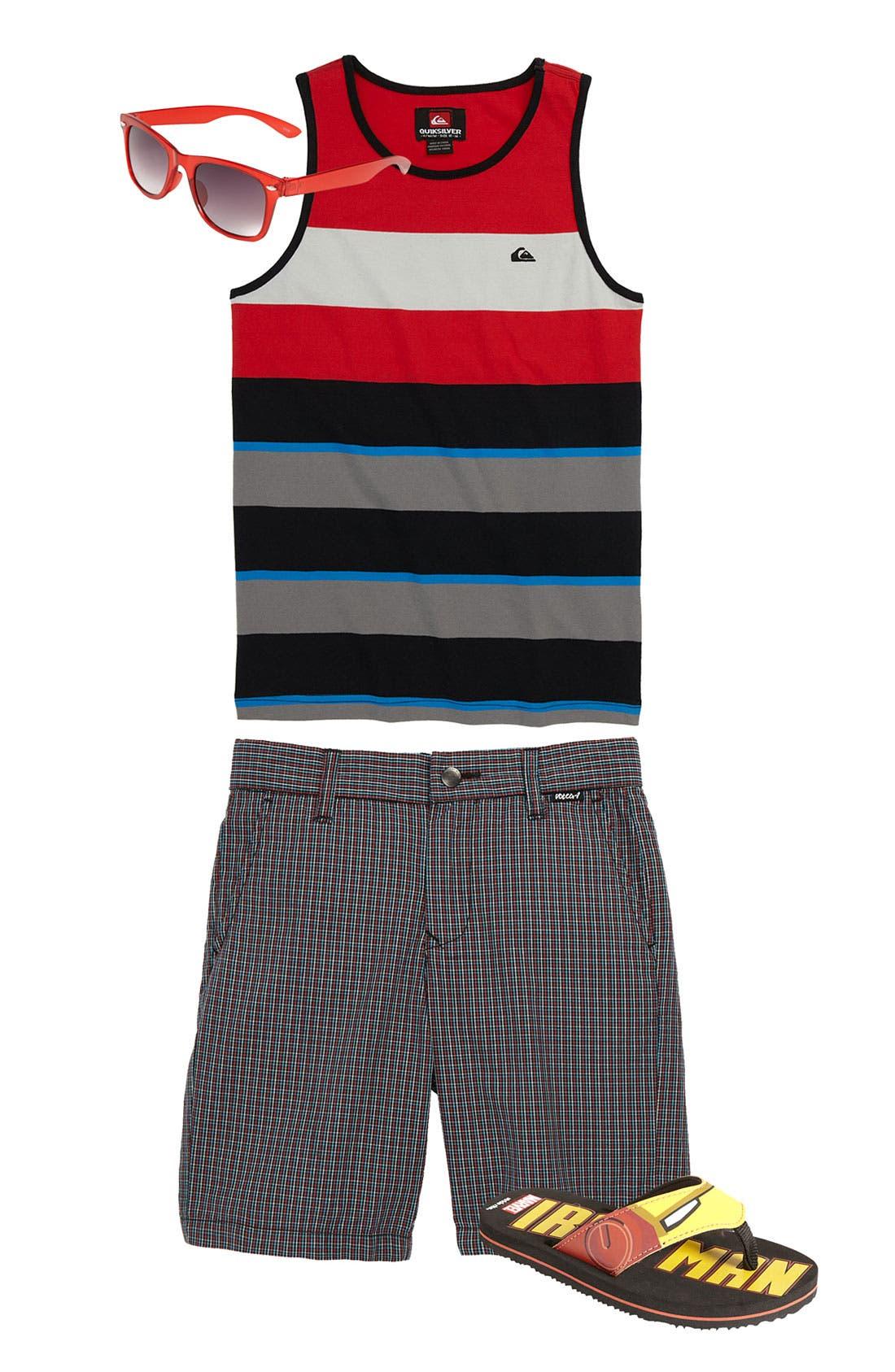 Alternate Image 1 Selected - Quiksilver Shirt, Volcom Shorts, Icon Eyewear Sunglasses (Little Boys)