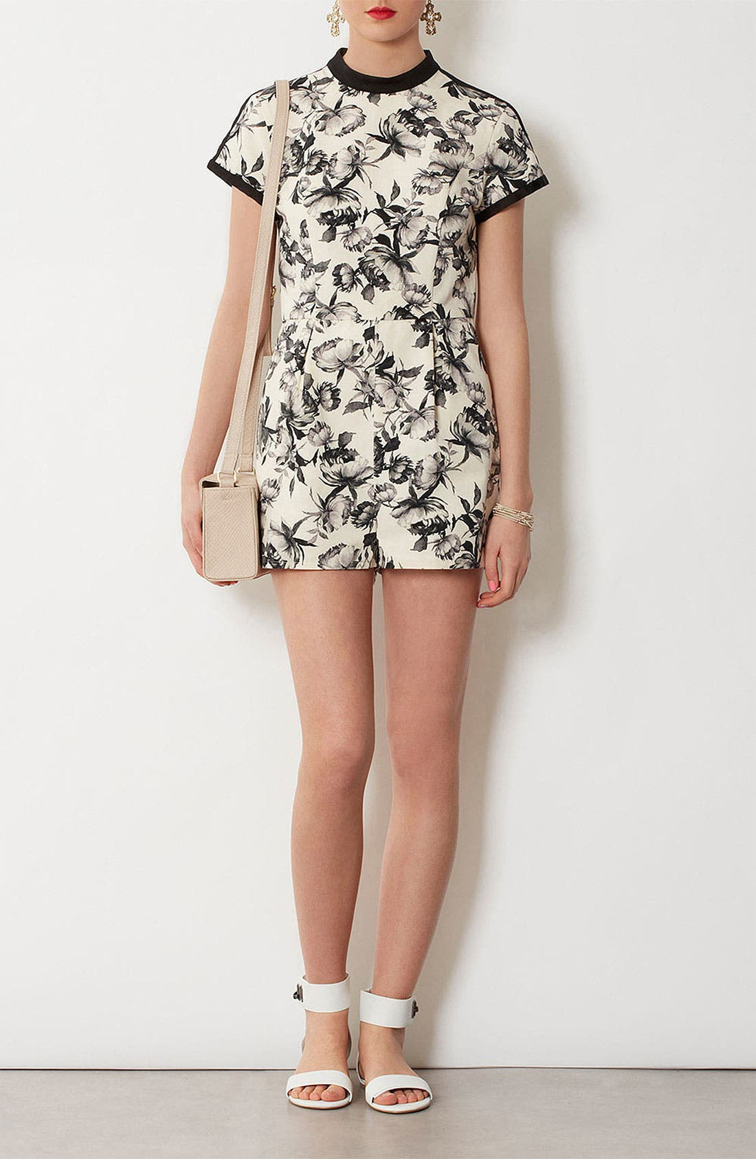Alternate Image 1 Selected - Topshop 'Mono Floral' Print Romper