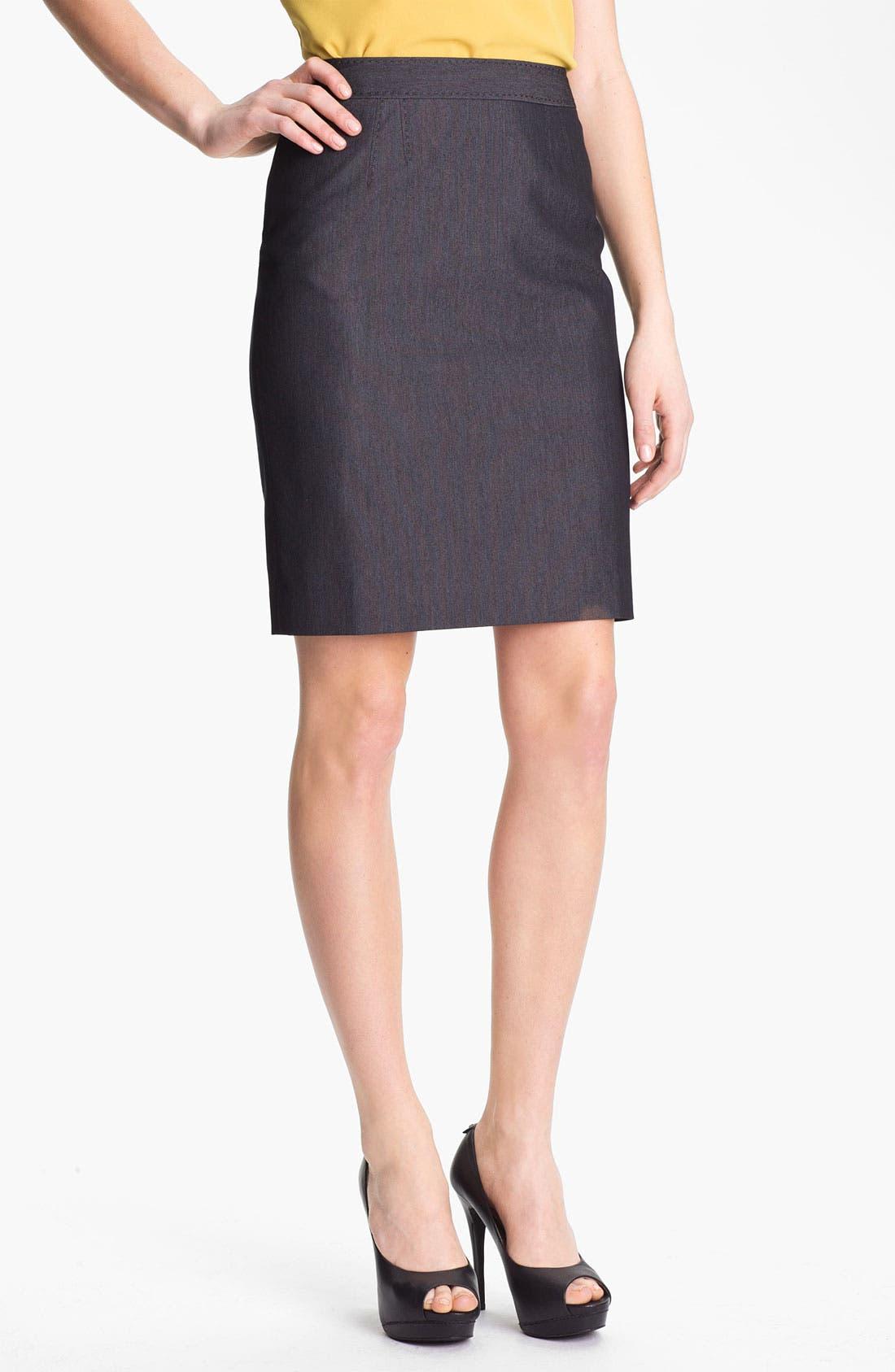 Alternate Image 2  - Halogen® Black Denim Suit Skirt