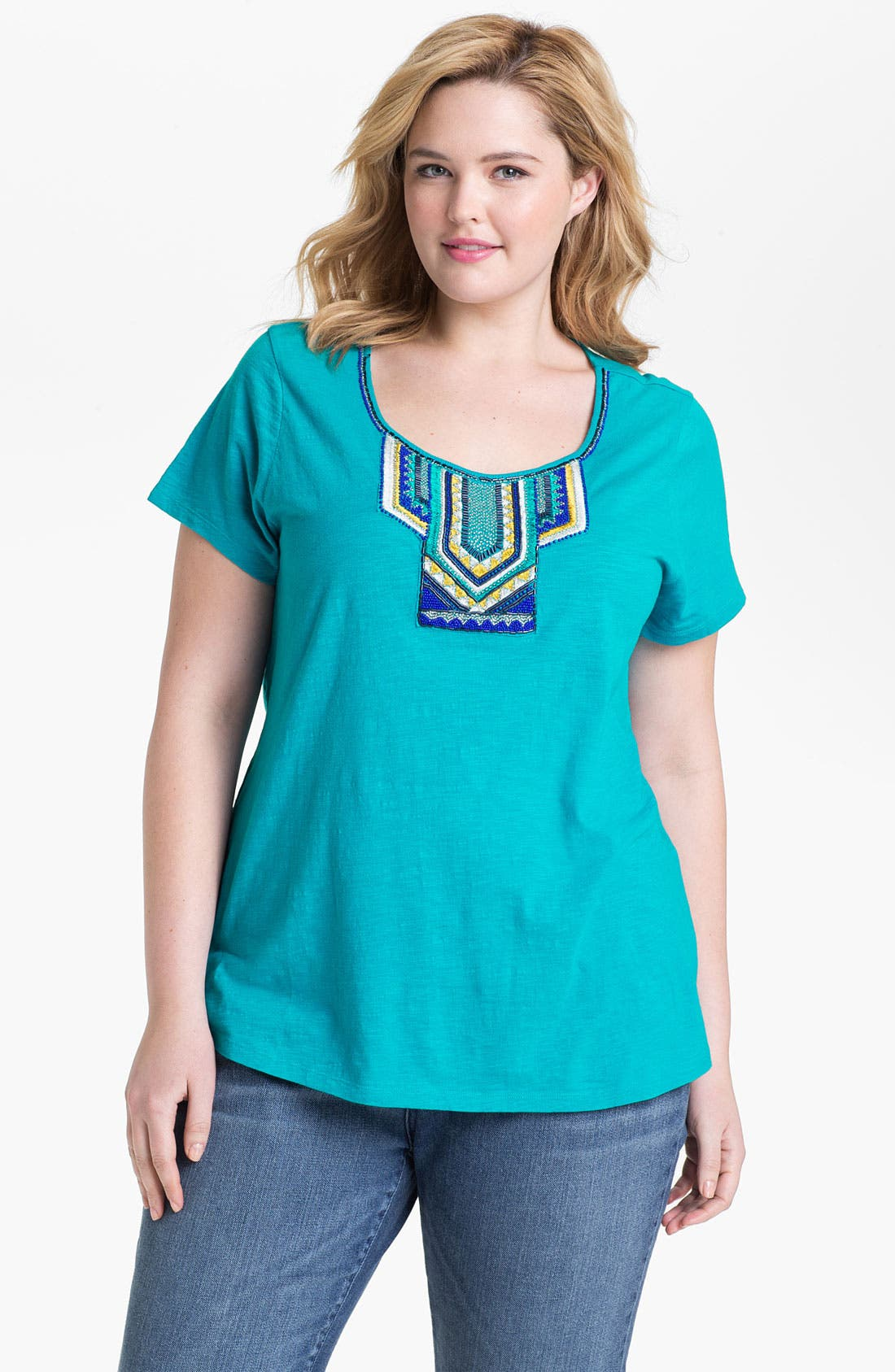 Main Image - Lucky Brand 'Adrianna' Embellished Cotton Tee (Plus Size)