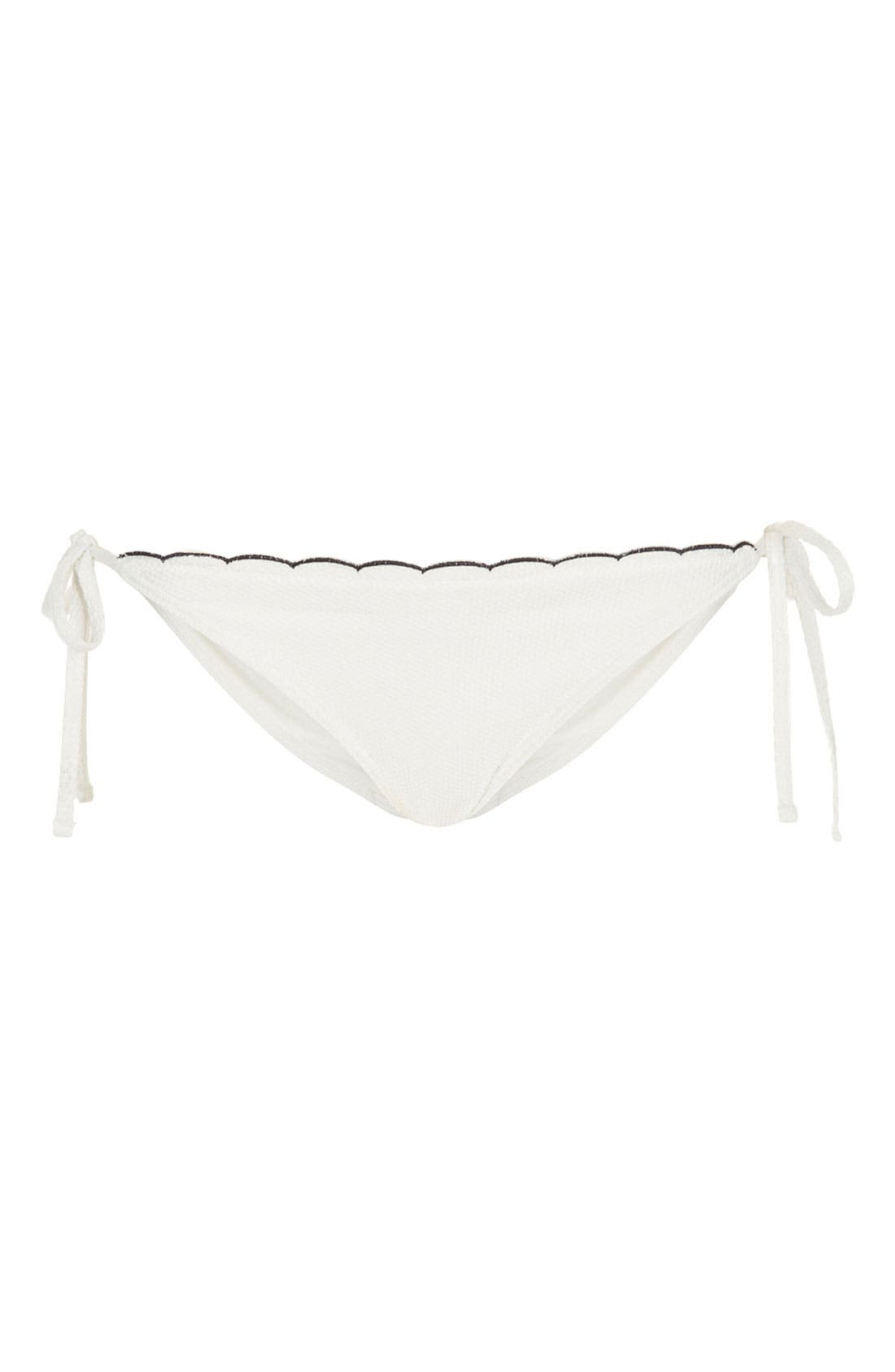 Alternate Image 1 Selected - Topshop Scallop Side Tie Bikini Bottoms