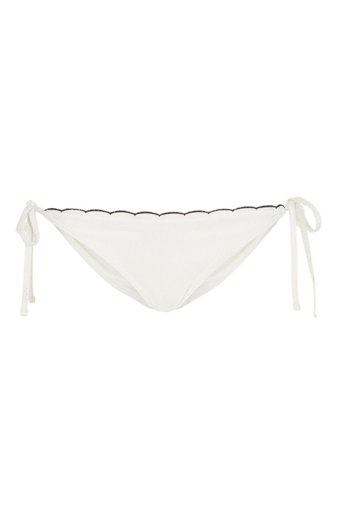 Main Image - Topshop Scallop Side Tie Bikini Bottoms