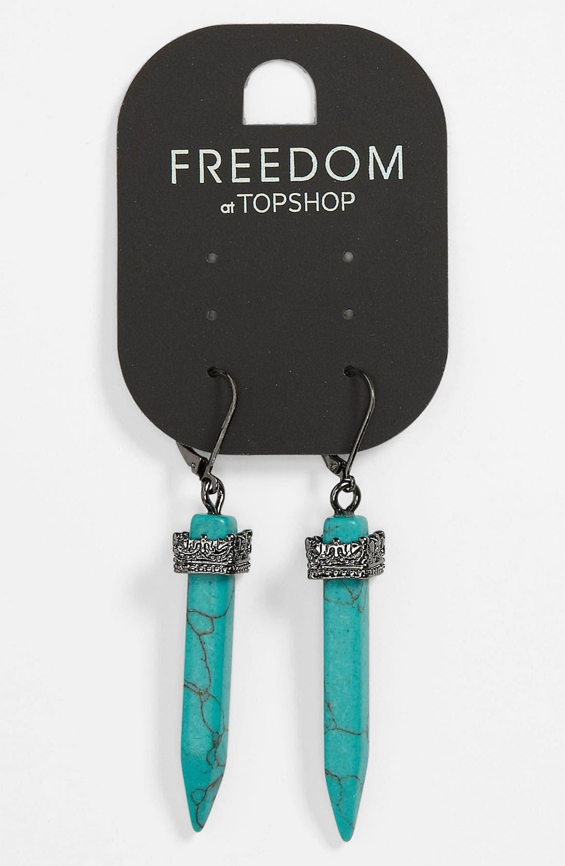Main Image - Topshop Turquoise Drop Earrings
