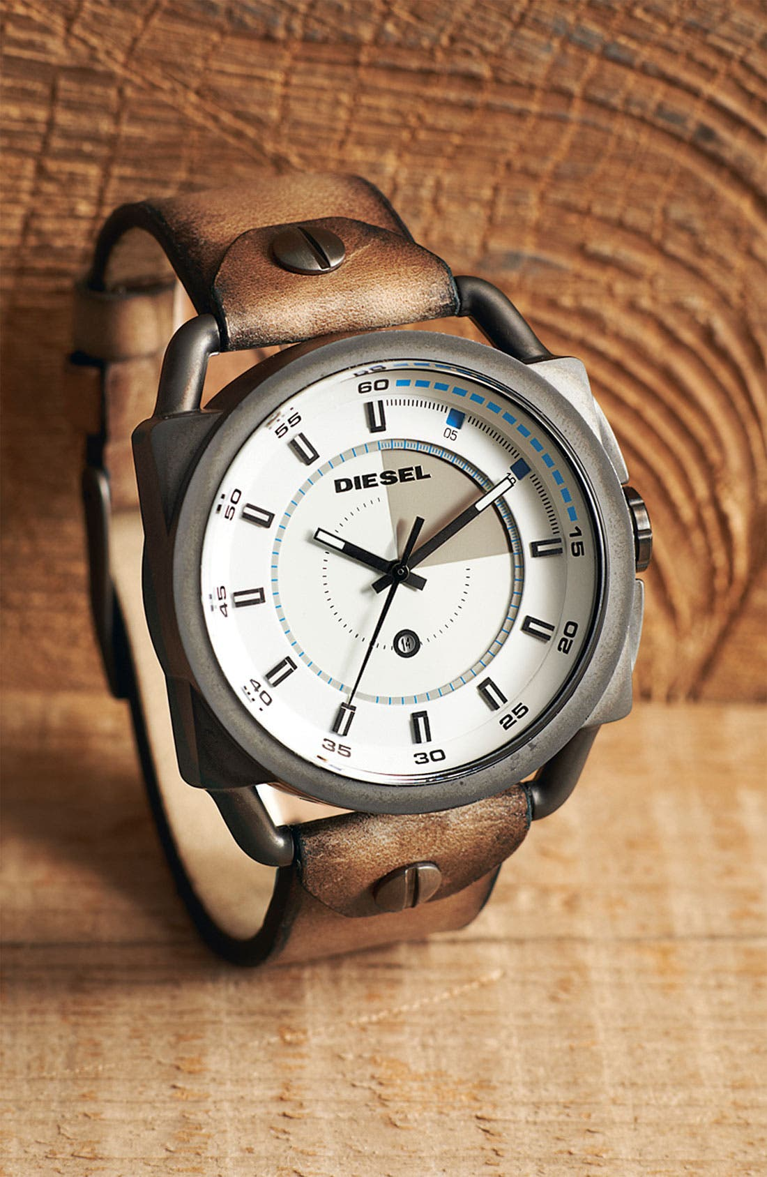 Alternate Image 4  - DIESEL® 'Descender' Leather Strap Watch, 50mm