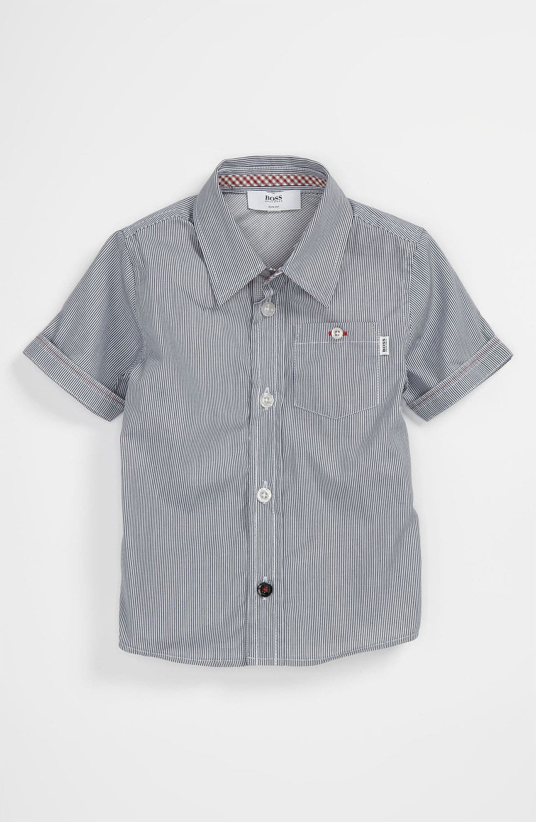 Alternate Image 1 Selected - BOSS Kidswear Pinstripe Sport Shirt (Baby)