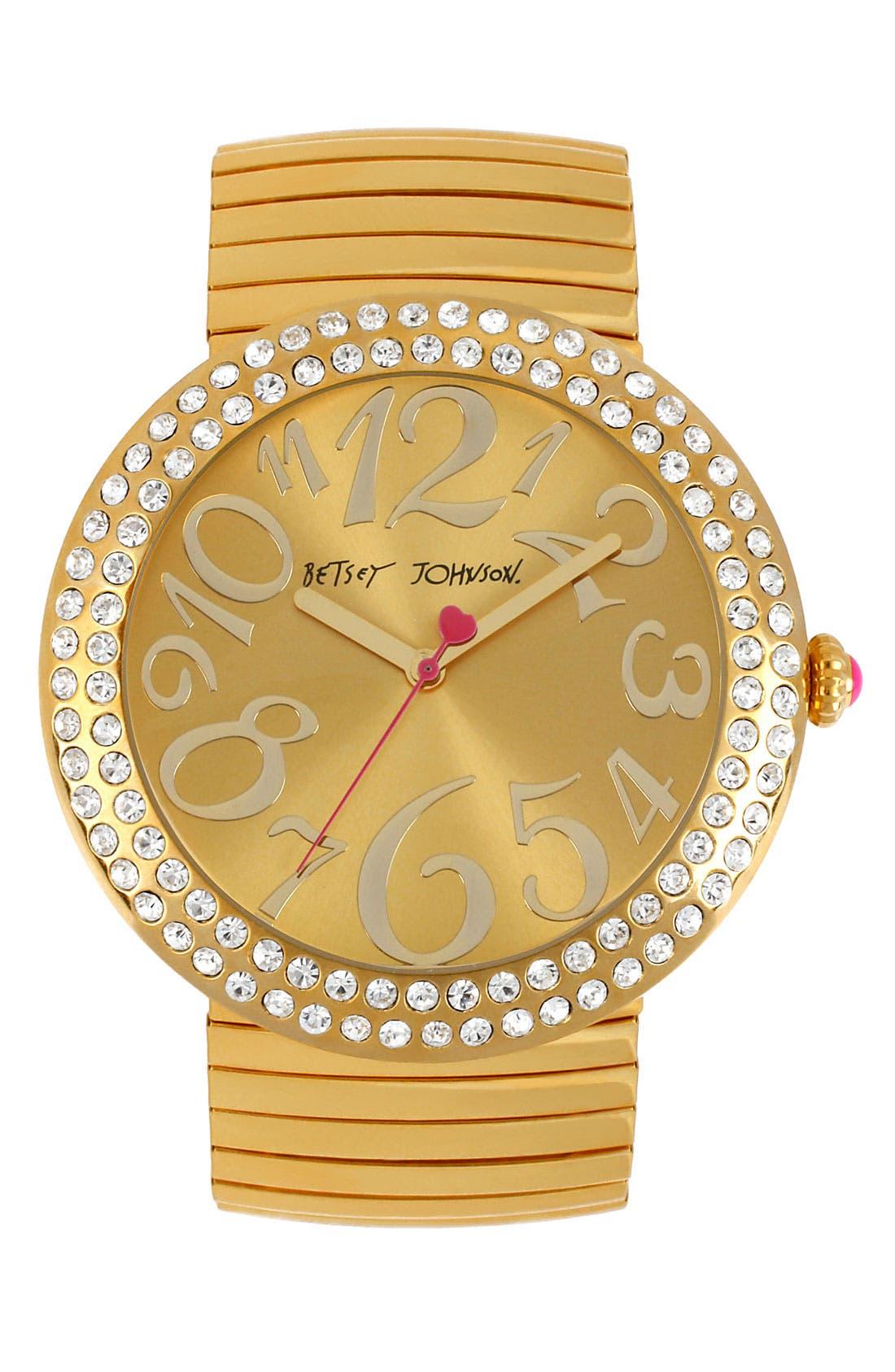 Main Image - Betsey Johnson Crystal Bezel Watch, 50mm