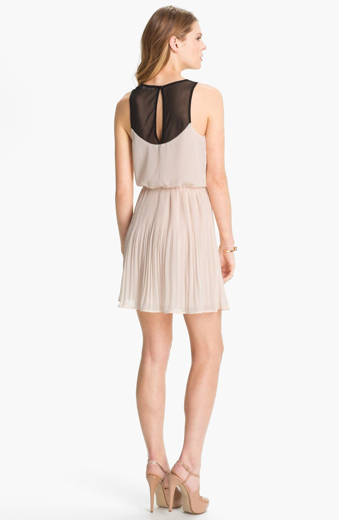 Alternate Image 2  - Lush Mesh Back Pleated Chiffon Dress (Juniors)