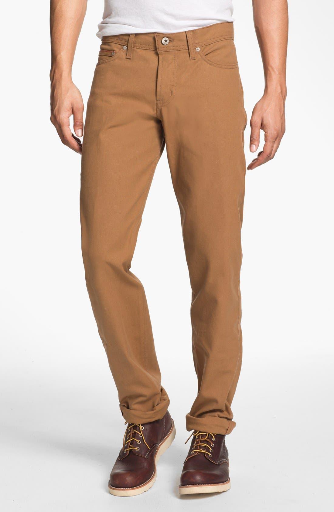 Alternate Image 1 Selected - Naked & Famous Denim Weird Guy Slim Tapered Leg Selvedge Jeans (Vintage Brown Khaki)