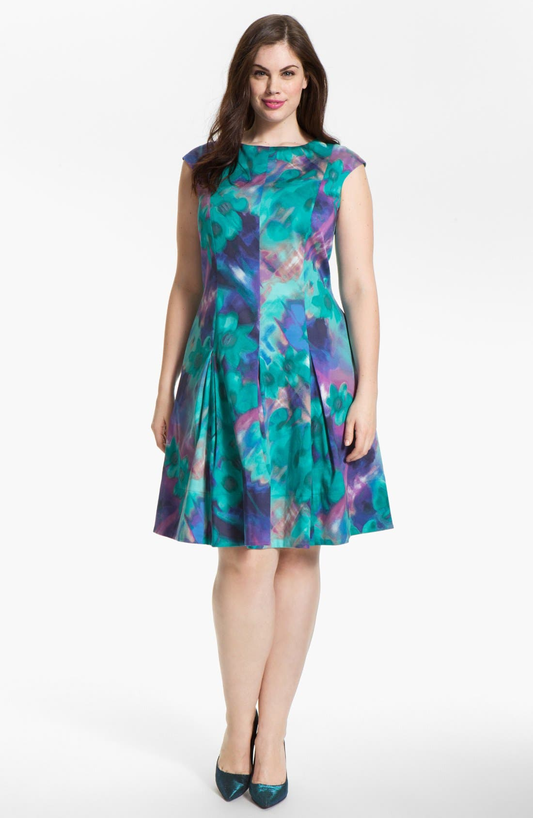 Alternate Image 1 Selected - Eliza J Print Fit & Flare Dress (Plus Size)
