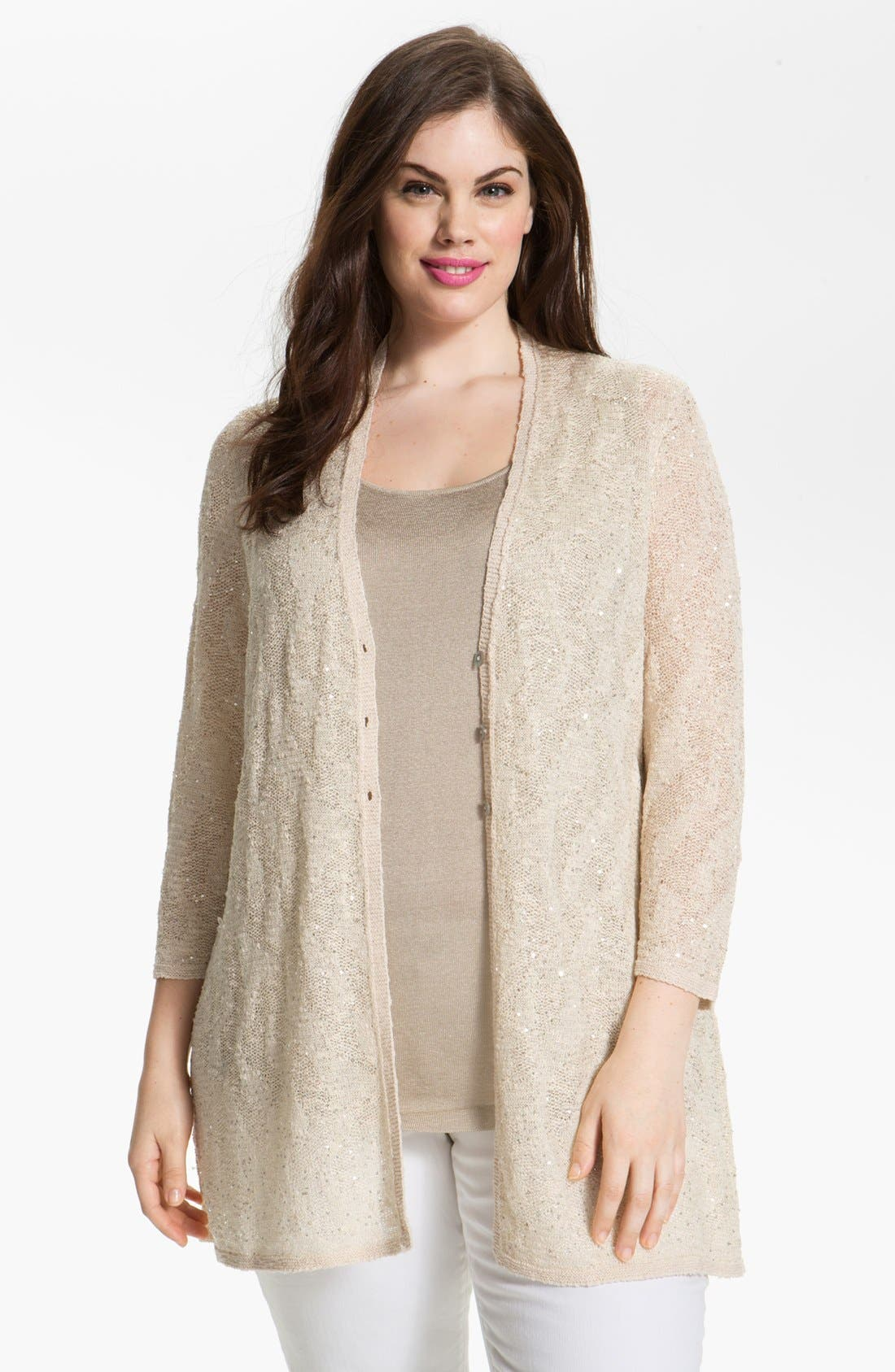 Alternate Image 1 Selected - Nic + Zoe 'Sparkling Skies' Embellished Cardigan (Plus Size)
