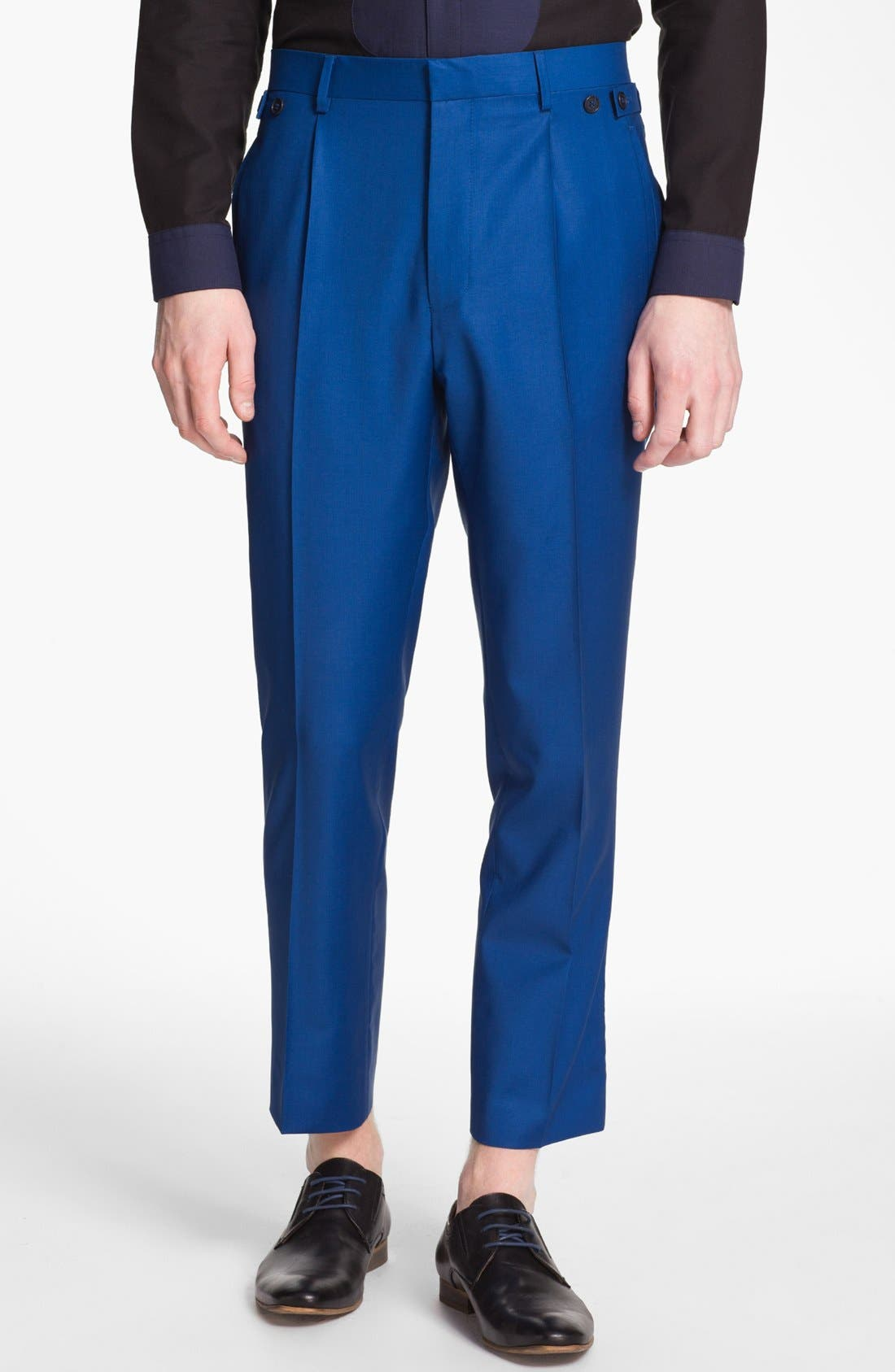 Alternate Image 1 Selected - Topman 'Lux Collection' Slim Fit Wool Trousers