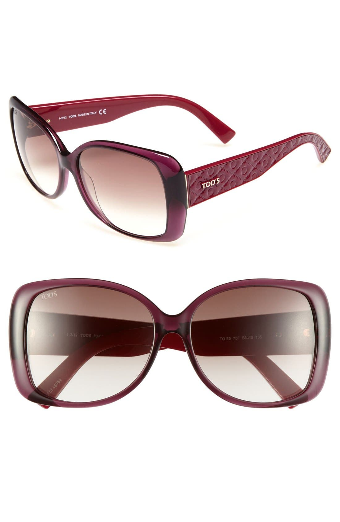 Main Image - Tod's 58mm Square Sunglasses