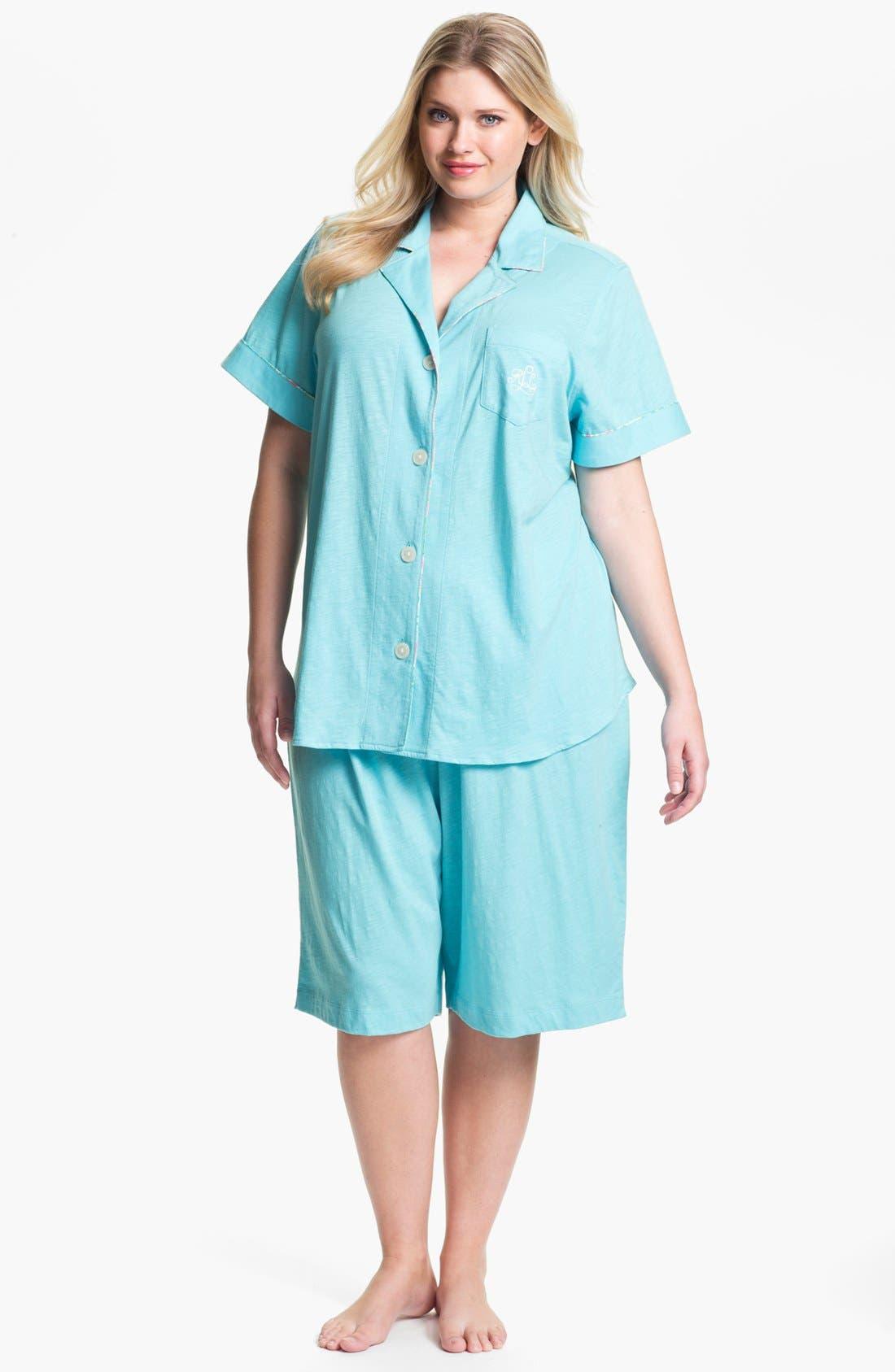 Alternate Image 1 Selected - Lauren Ralph Lauren Sleepwear Short Pajamas (Plus)