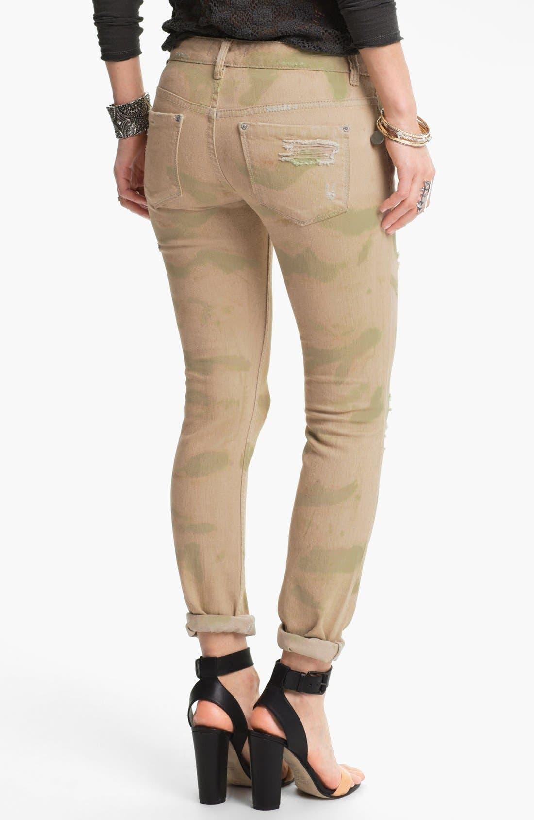 Alternate Image 2  - Free People Print Destroyed Skinny Jeans (Castro)