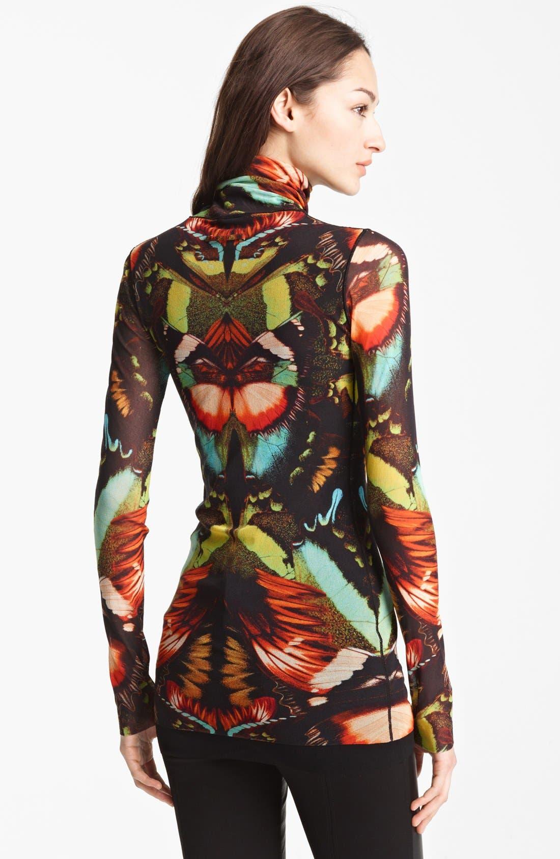 Alternate Image 2  - Jean Paul Gaultier Fuzzi Butterfly Print Tulle Turtleneck