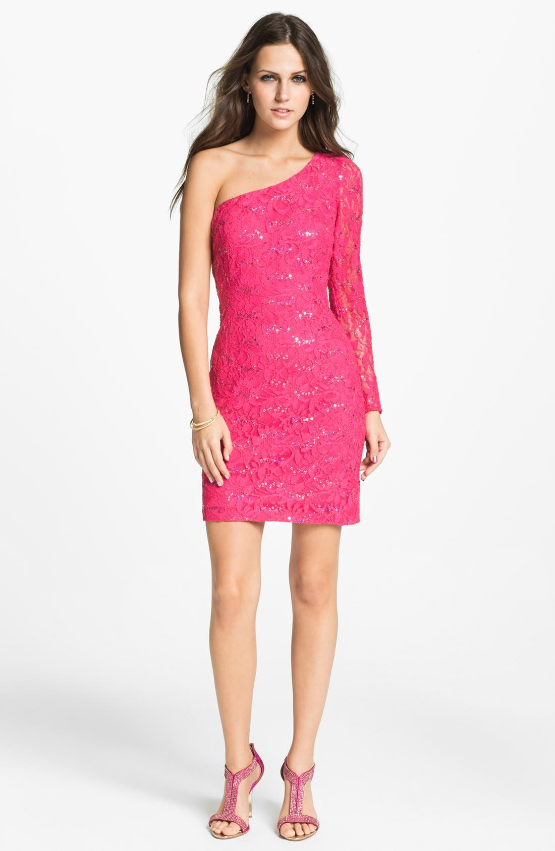 Main Image - Hailey by Adrianna Papell One Shoulder Sequin Lace Sheath Dress