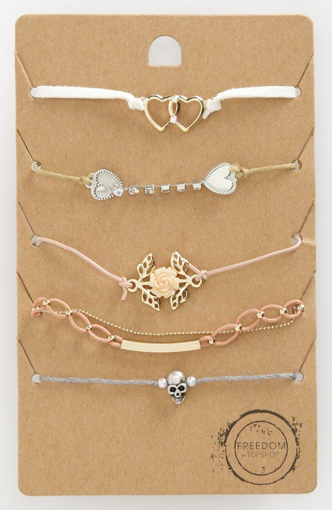 Main Image - Topshop 'Pretty' Bracelets (Set of 5)