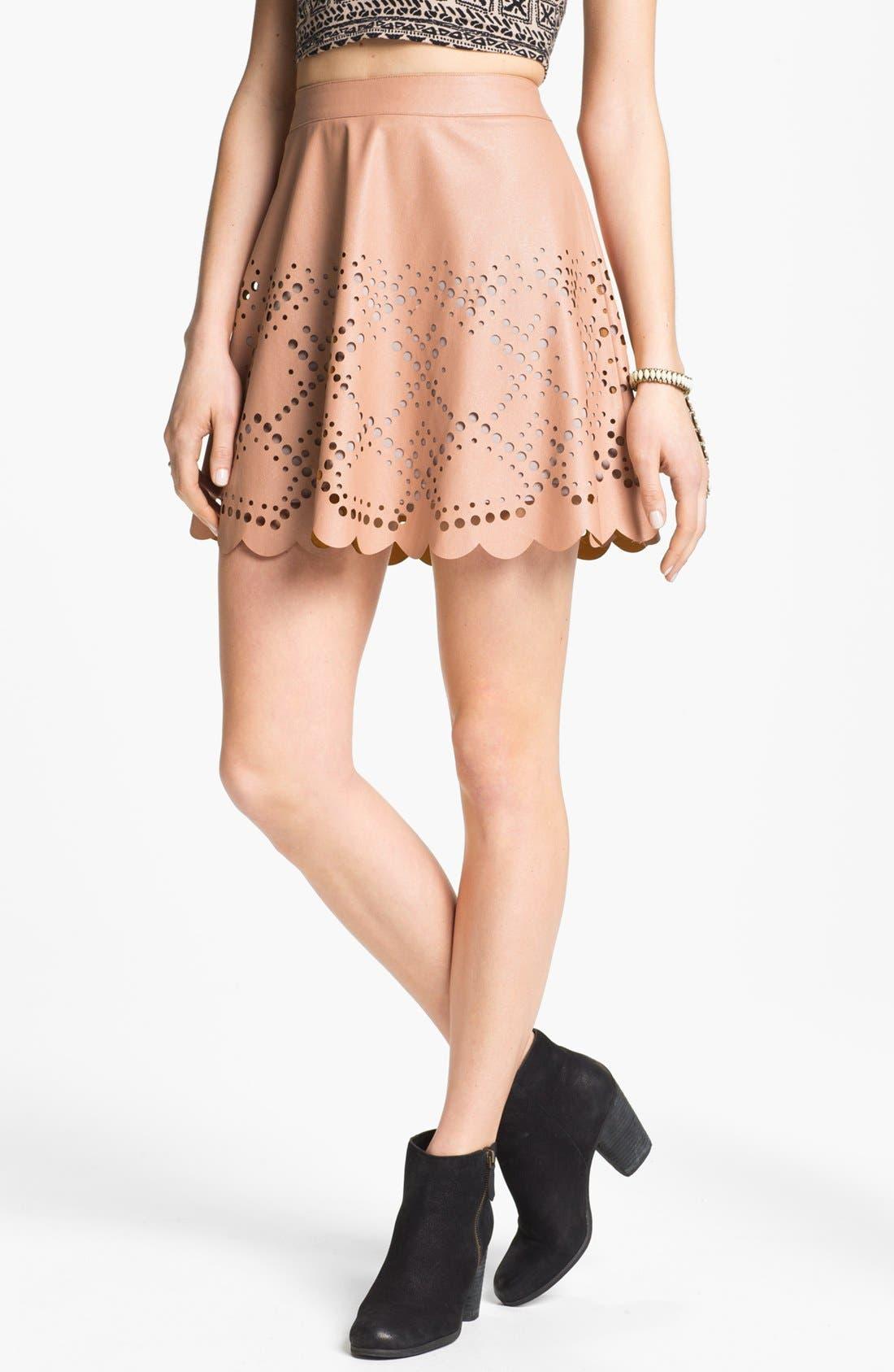 Main Image - Blu Pepper Laser Cut Faux Leather Skirt (Juniors) (Online Exclusive)