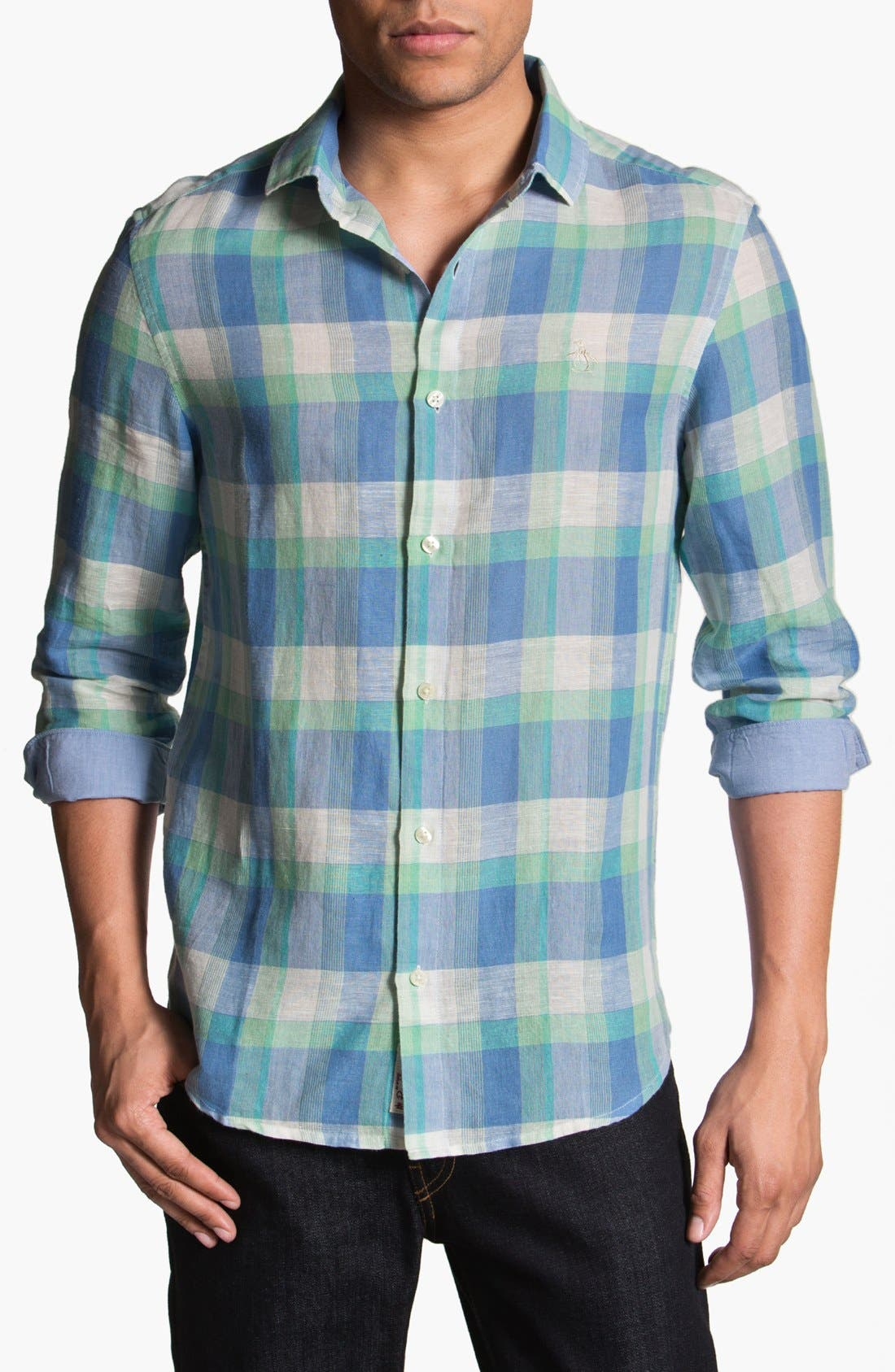 Alternate Image 1 Selected - Original Penguin Heritage Fit Plaid Linen Blend Shirt