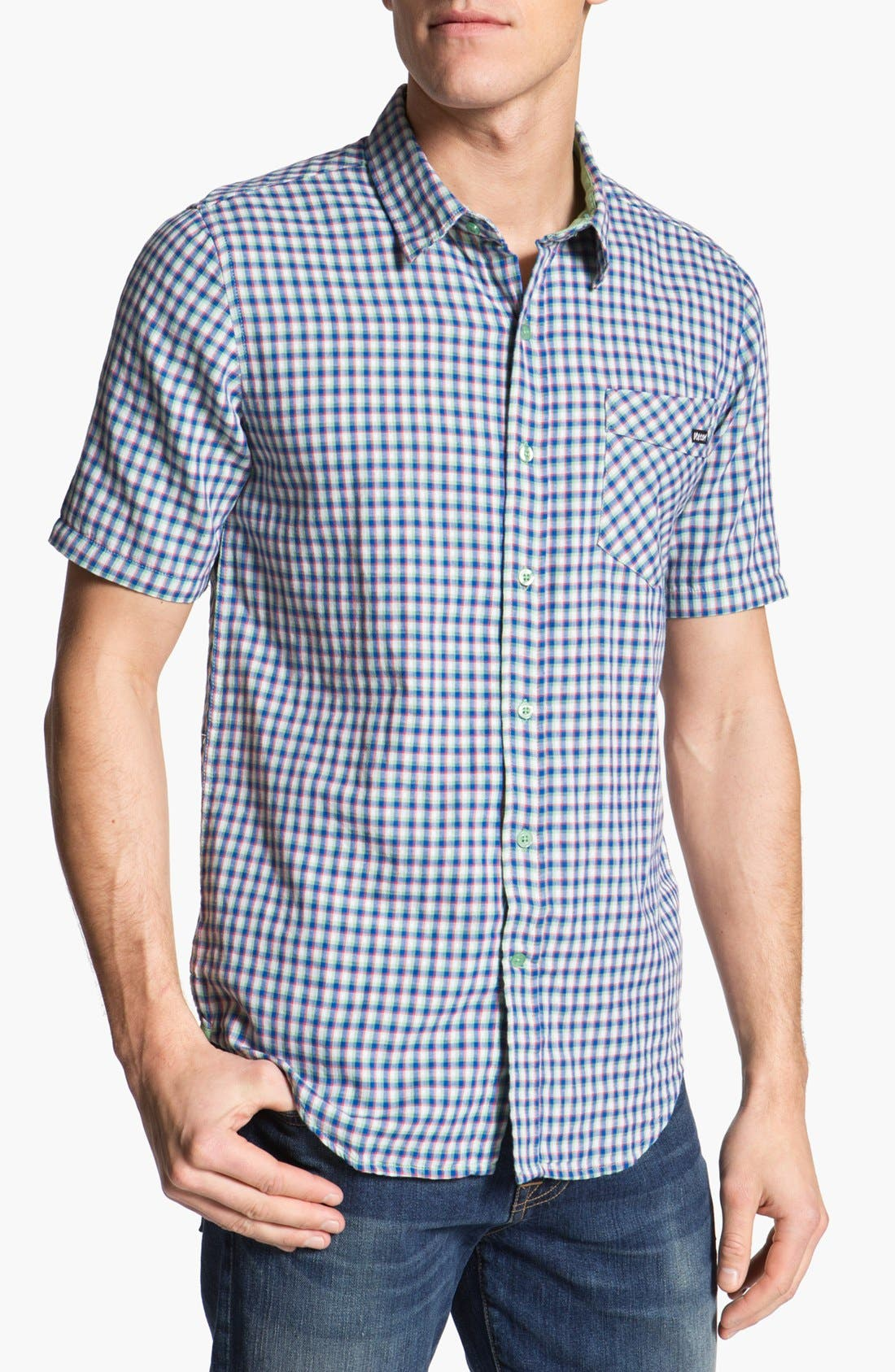 Alternate Image 1 Selected - Volcom 'Lanford' Short Sleeve Check Woven Shirt