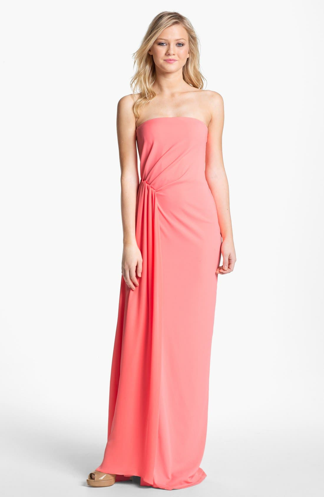 Main Image - Halston Heritage Strapless Side Drape Column Dress