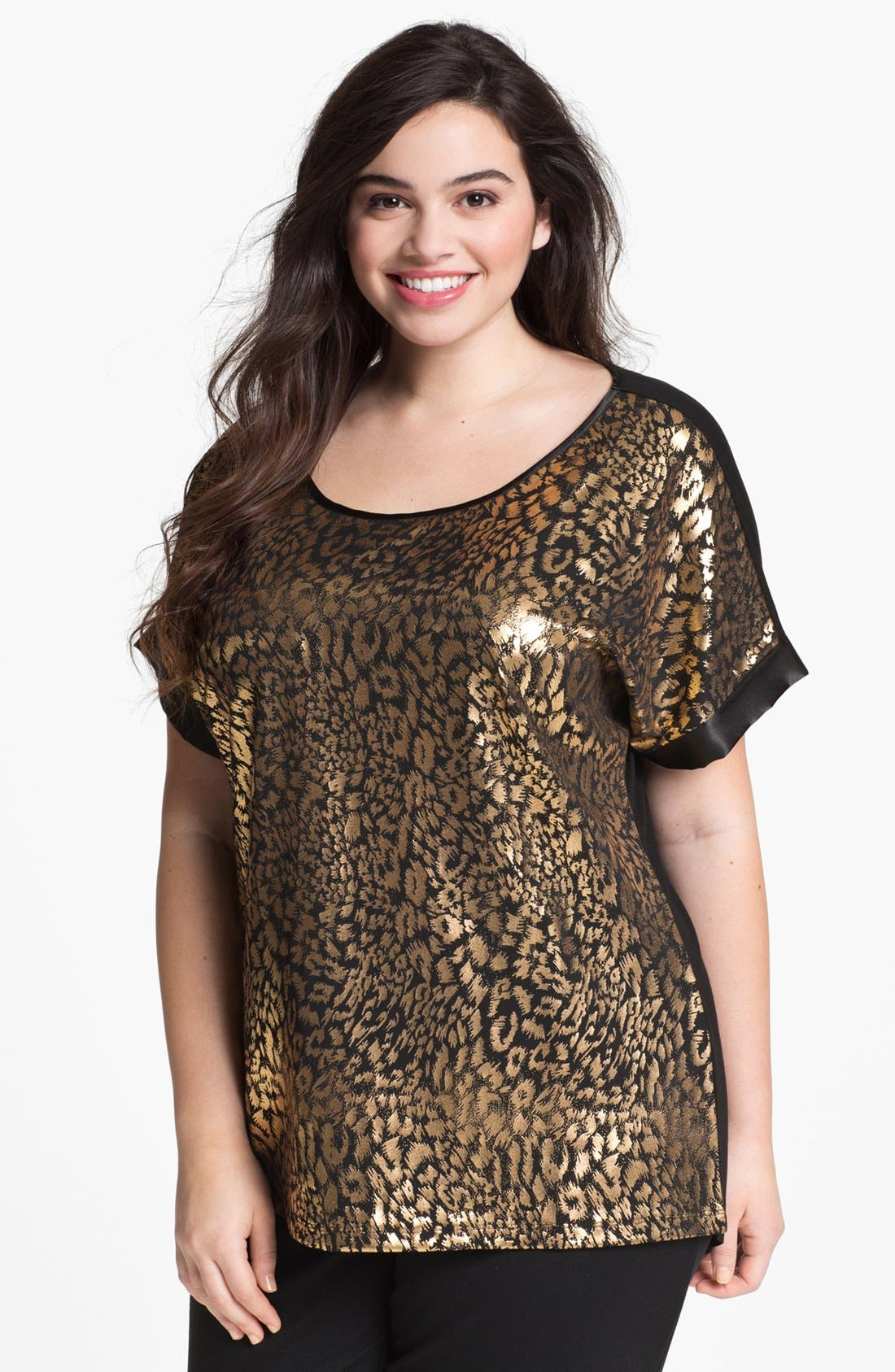 Alternate Image 1 Selected - Kische Foil Print Top (Plus Size) (Online Only)