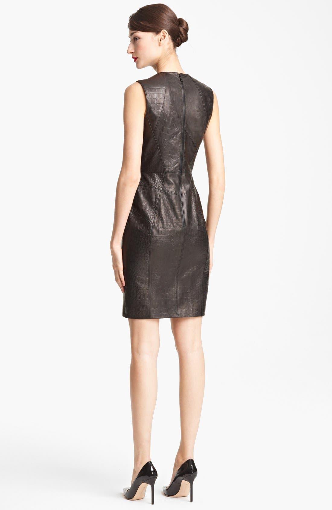 Alternate Image 2  - Jason Wu Embossed Leather Sheath Dress