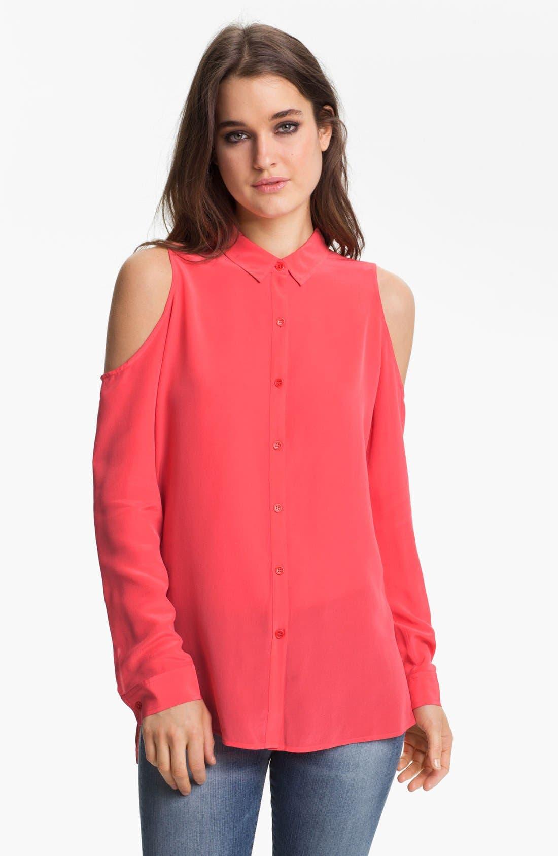 Main Image - Trouvé Cutout Shoulder Silk Blouse