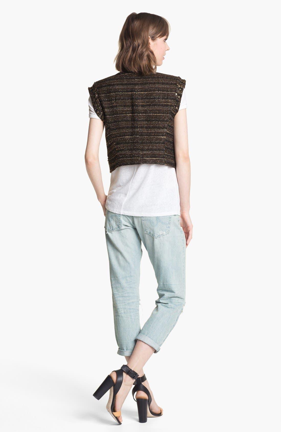 Alternate Image 3  - Trouvé Open Weave Bib Linen Blend Sweater