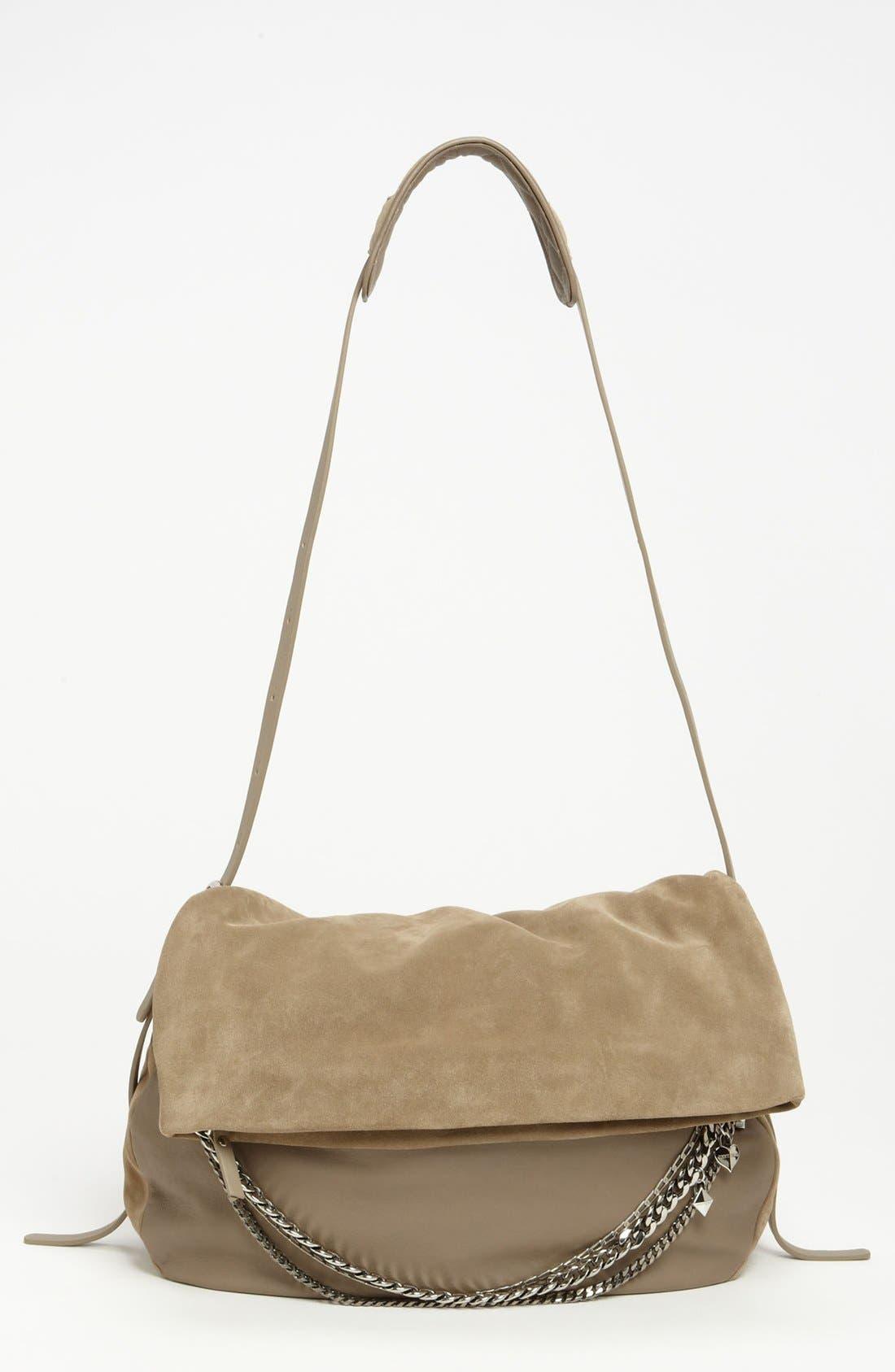Alternate Image 1 Selected - Jimmy Choo 'Biker - Large' Suede & Leather Crossbody Bag