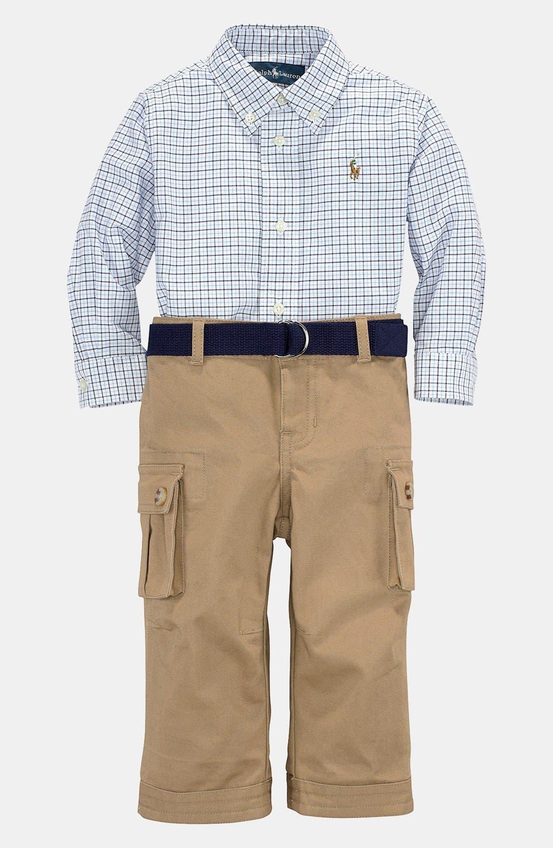 Alternate Image 2  - Ralph Lauren Shirt & Pants (Baby)