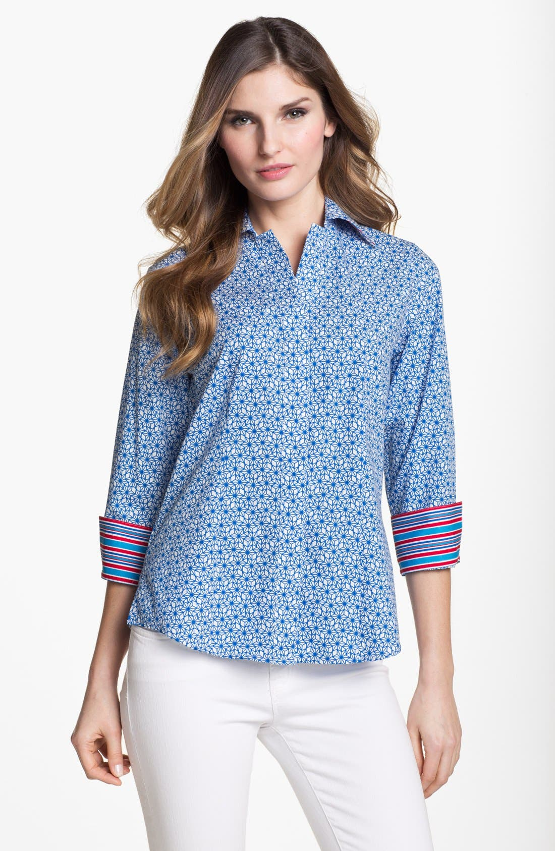 Alternate Image 1 Selected - Foxcroft 'Stars and Stripes' Shaped Shirt