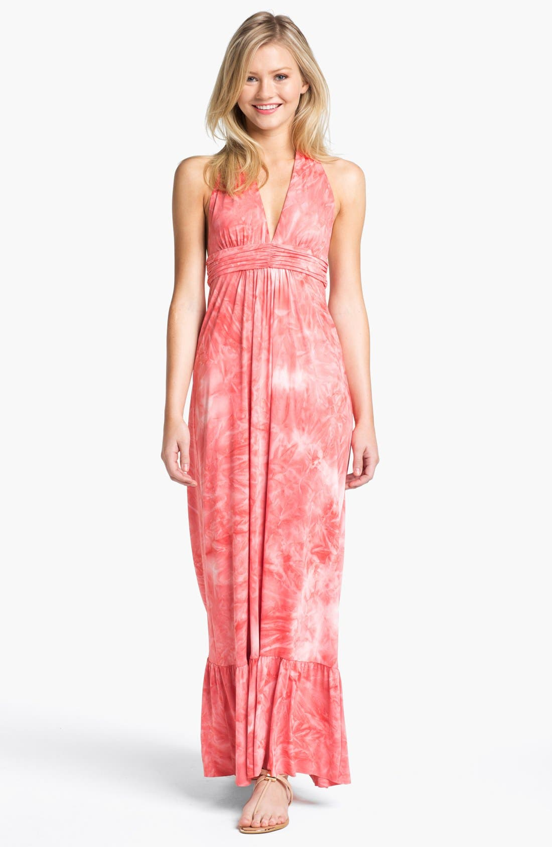 Alternate Image 1 Selected - Tbags Los Angeles Tie Dye Halter Maxi Dress