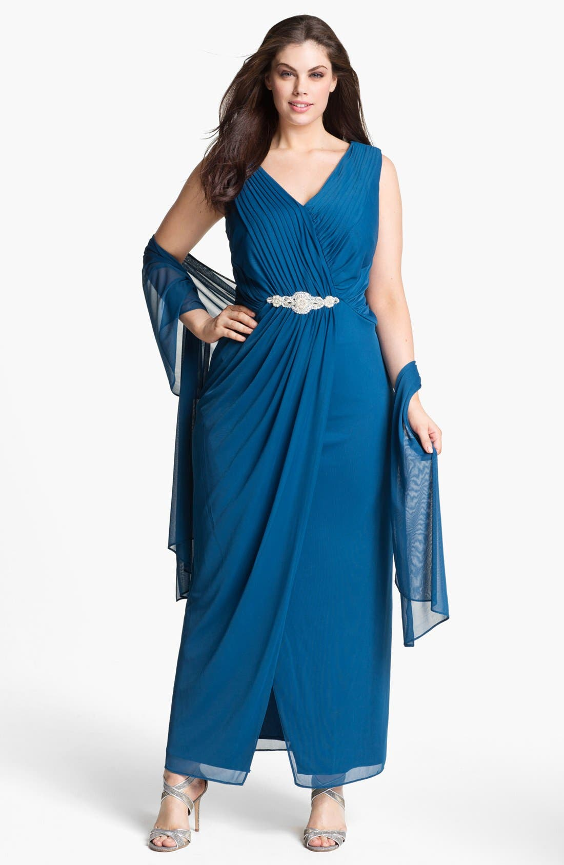 Alternate Image 1 Selected - Alex Evenings Embellished Mesh Gown & Shawl (Plus Size)