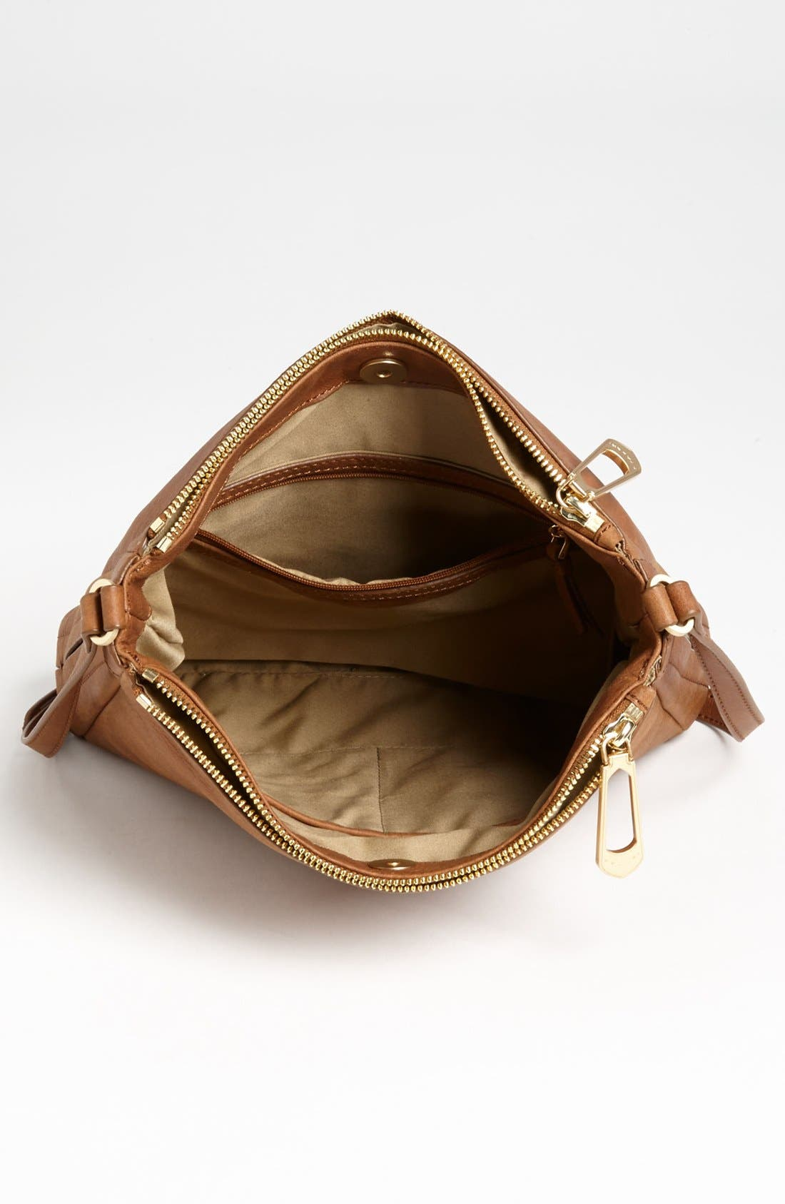 Alternate Image 3  - T Tahari Pleated Double Zip Leather Crossbody Bag