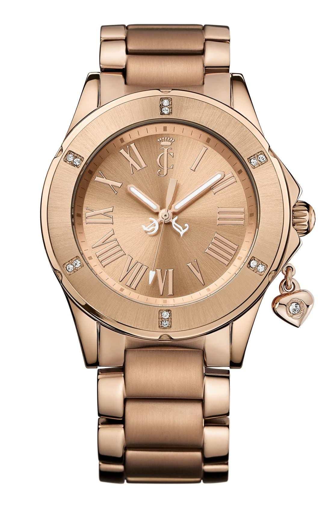Alternate Image 1 Selected - Juicy Couture 'Rich Girl' Round Dial Bracelet Watch