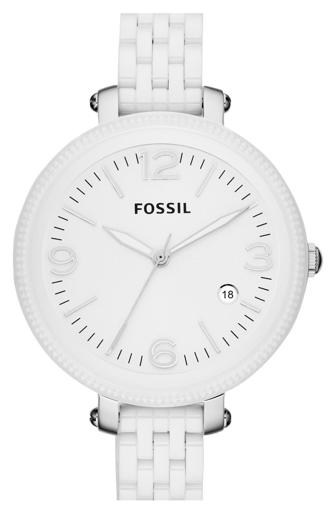 Main Image - Fossil 'Heather' Ceramic Bracelet Watch, 42mm