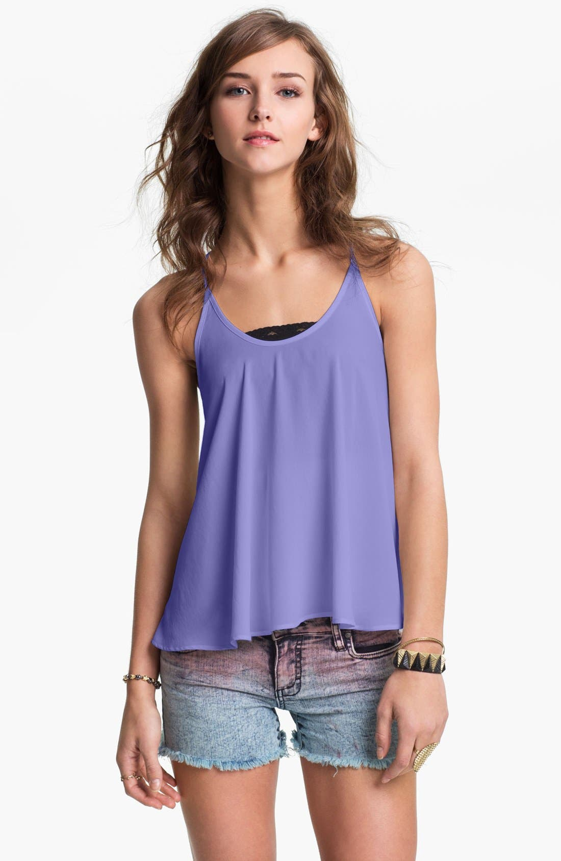 Alternate Image 1 Selected - Lush Flowy Racerback Camisole (Juniors)