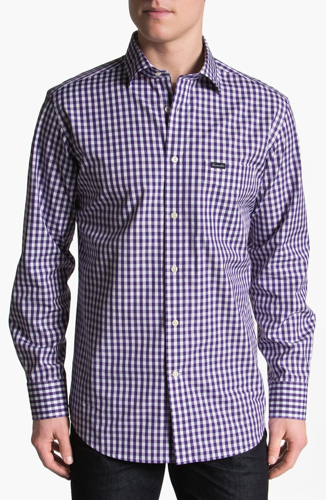 Alternate Image 1 Selected - Façonnable Club Fit Gingham Sport Shirt