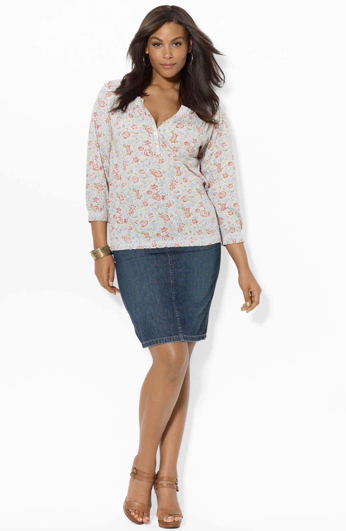 Alternate Image 3  - Lauren Ralph Lauren Straight Denim Skirt (Plus Size)