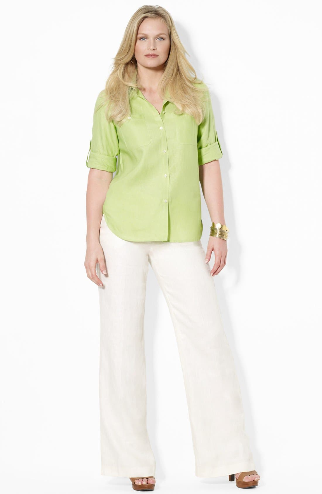Alternate Image 3  - Lauren Ralph Lauren Linen Work Shirt (Plus Size)