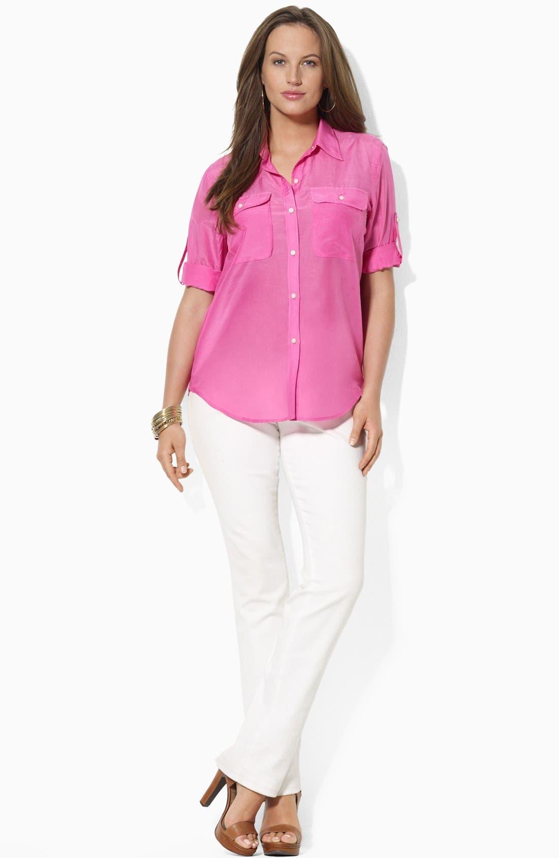 Alternate Image 2  - Lauren Ralph Lauren Cotton & Silk Work Shirt (Plus)