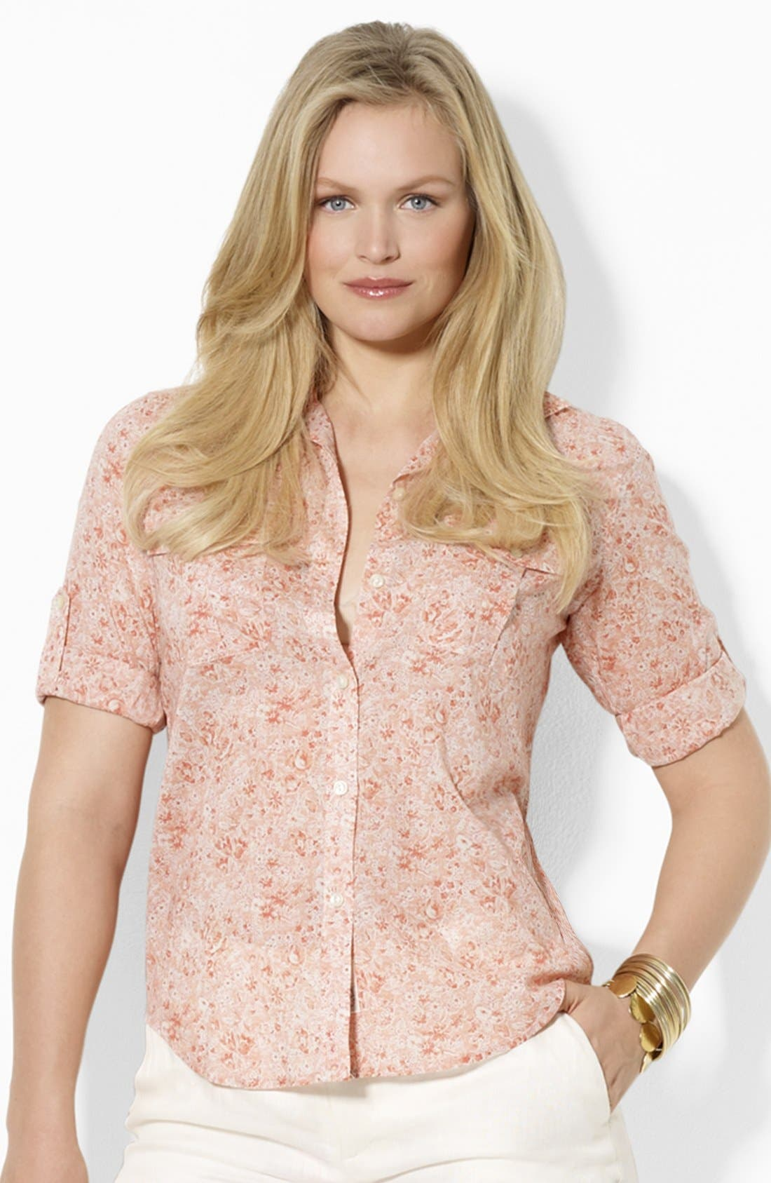 Alternate Image 1 Selected - Lauren Ralph Lauren Fitted Print Shirt (Plus)