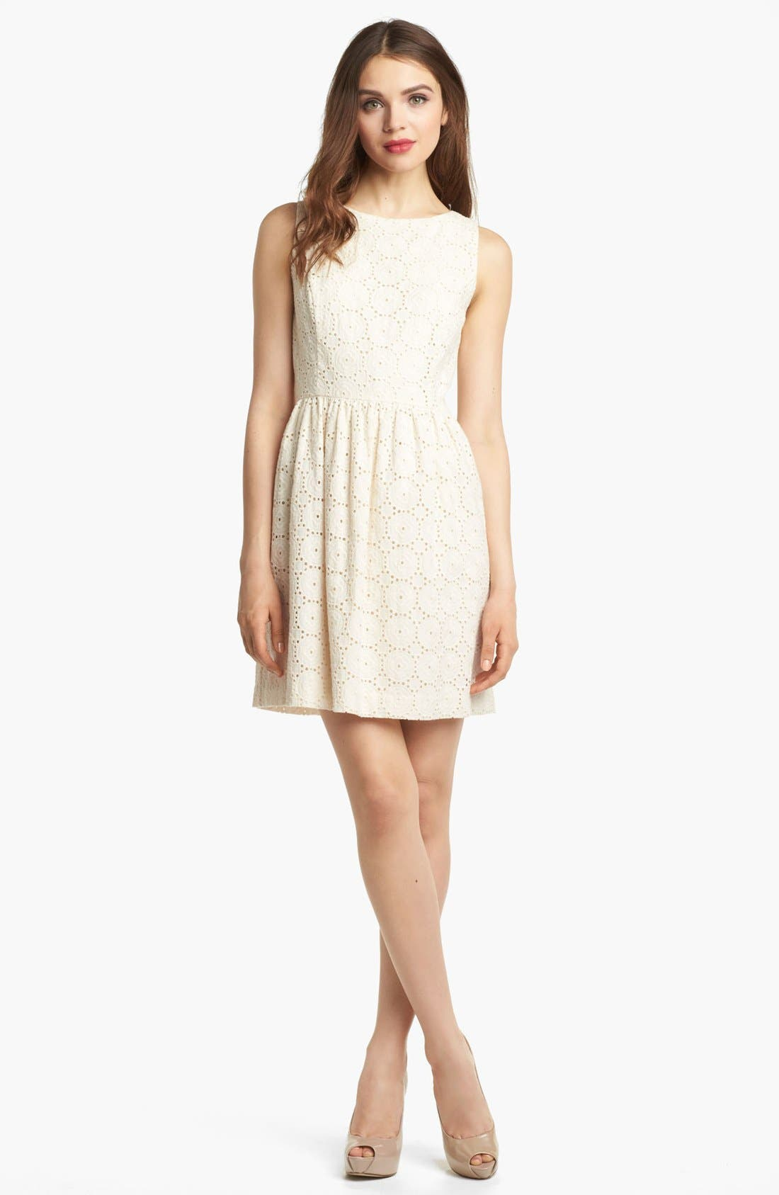 Alternate Image 1 Selected - Kensie Embroidered Eyelet Dress