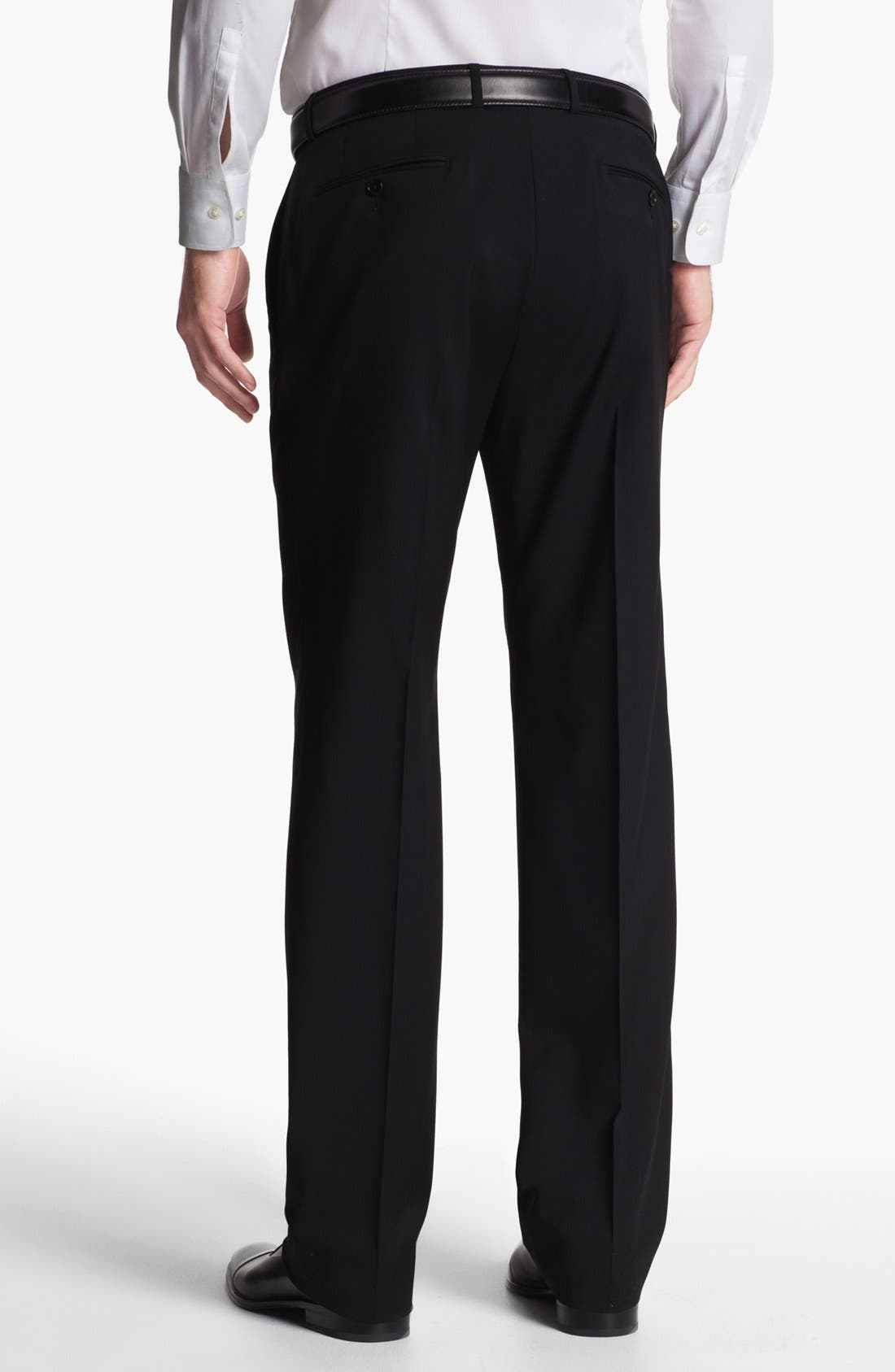 Alternate Image 2  - John Varvatos Star USA 'Thompson' Black Flat Front Wool Trousers