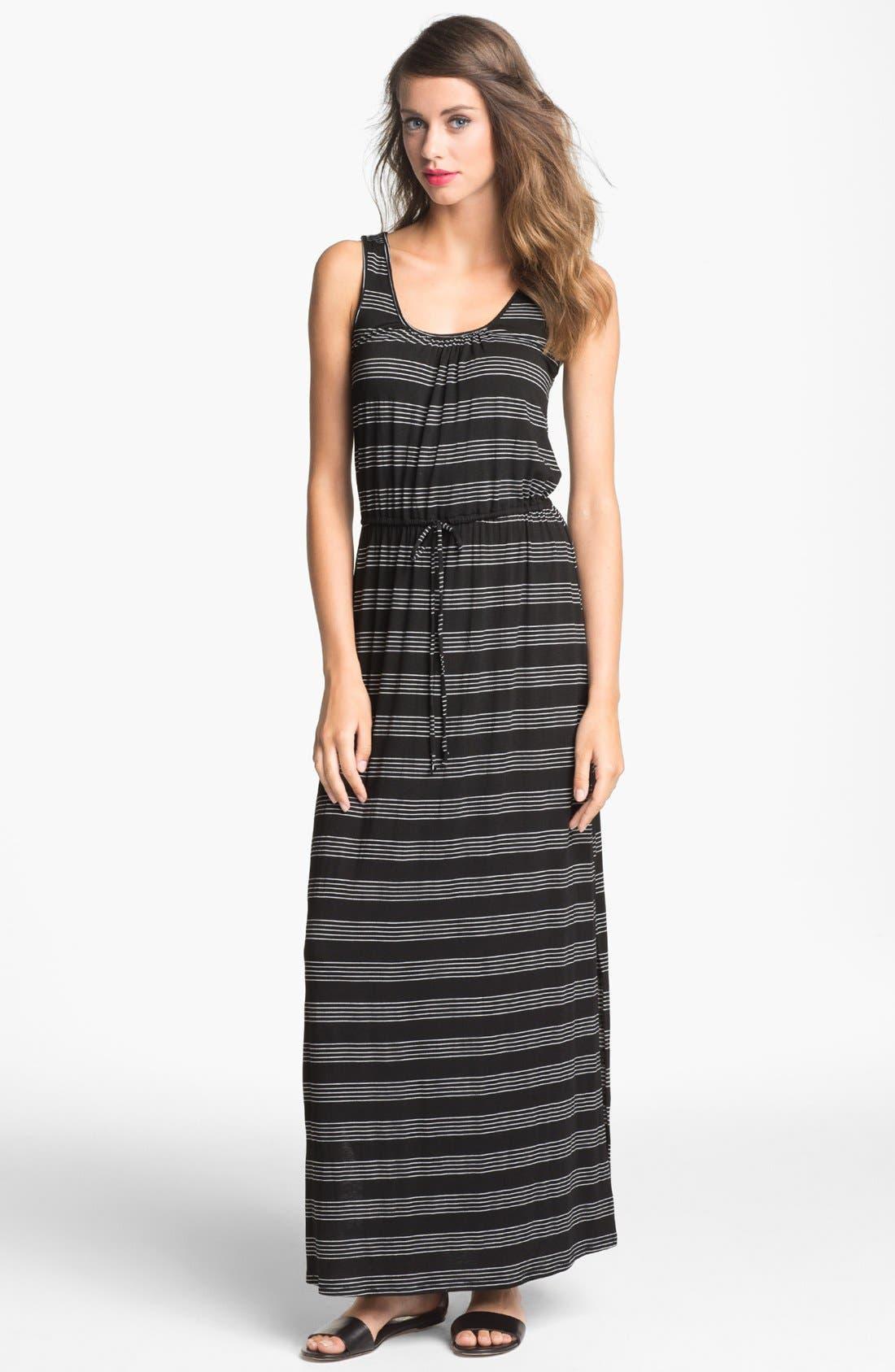 Alternate Image 1 Selected - Loveappella Drawstring Stripe Maxi Dress (Petite)