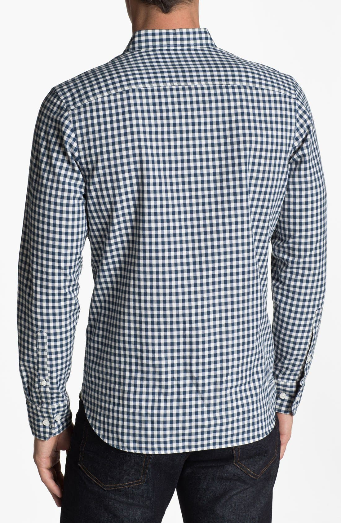 Alternate Image 2  - Wallin & Bros. Gingham Trim Fit Sport Shirt